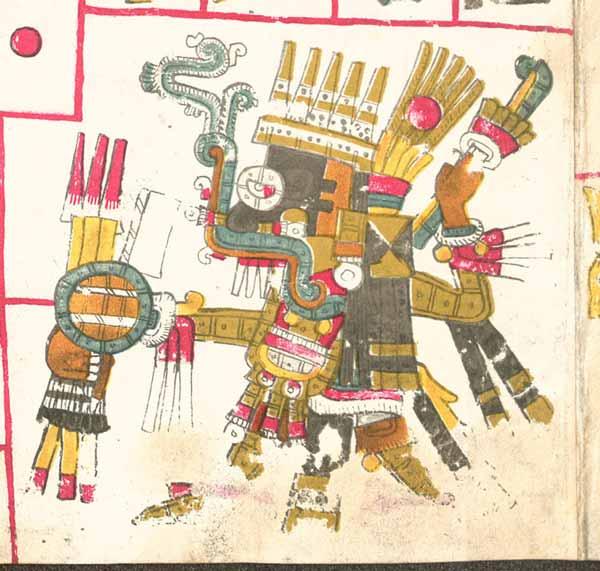 Tláloc descrito en el Códice Borgia, en atuendo de guerra. Portando un Atlátl, Chimalli y un Ichcahuipilli de cuerpo completo (armadura flexible)