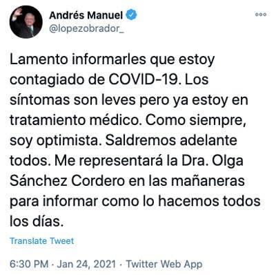 Andrés Manuel López Obrador, presidente de México, se contagió de coronavirus