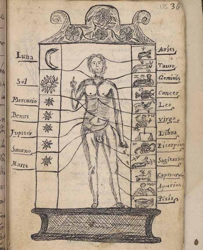 Relación en la astrología entre el cuerpo y los planetas