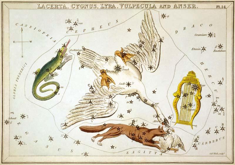 Constelación de la Lira y lluvia de estrellas de las Líridas