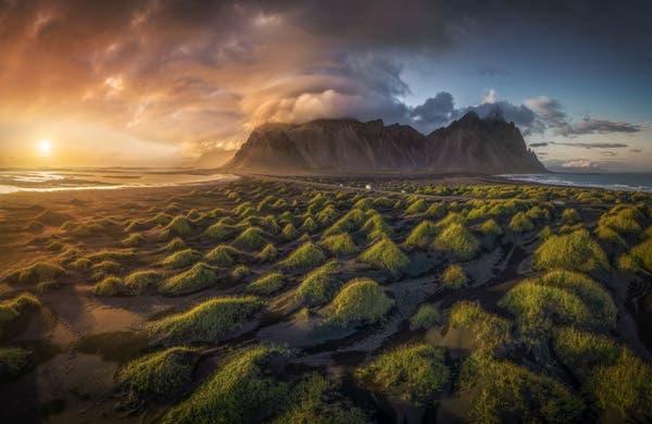 Cordillera de Vestrakhorn, Cabo Stokesnes, Islandia