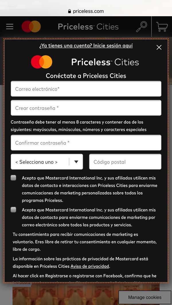 Regístrate en Priceless Cities