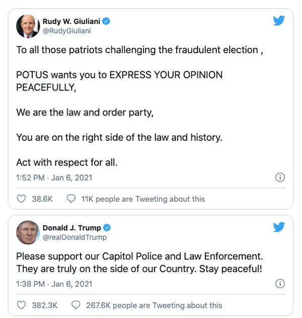 Llamado de Donald Trump y Rudolph Giuliani a sus simpatizantes