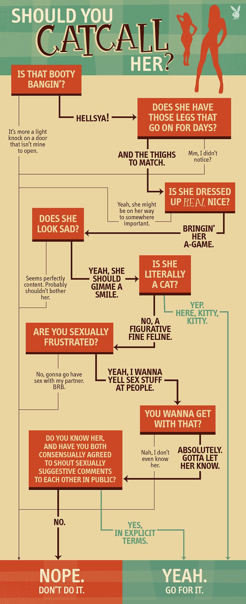 Echar o no un piropo? El diagrama de flujo de Playboy para detener ...